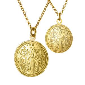 Αυθεντικό Χειροποίητο Διπλό Κωνσταντινάτο Επιχρυσωμένο Ασήμι 925 - Ά όψη
